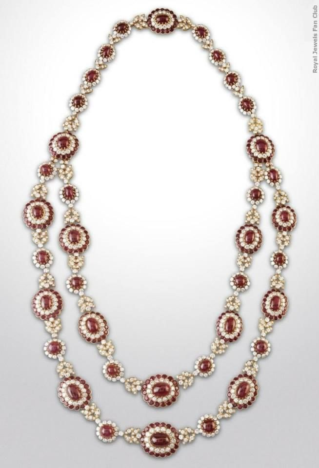 """""""Niarchos Ruby Sautoir"""" Made by Van Cleef & Arpels, this double-strand sautoir was a present to princess Sophie of Greece from the millionaire Stavros Niarchos when she married in 1962 King Juan Carlos I of Spain. The sautoir can be divided into three parts (a long necklace and two shorter ones) which may be worn in several ways : as a bracelet, as a collar necklace or as a bandeau tiara."""