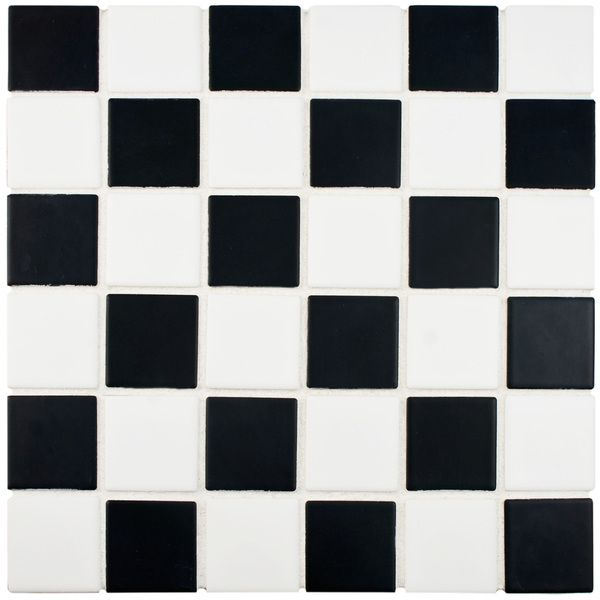 SomerTile 12.5x12.5-inch Knight Matte Black and White Checkerboard Porcelain Floor and Wall Tile (Case of 10) - Overstock Shopping - Big Discounts on Somertile Floor Tiles