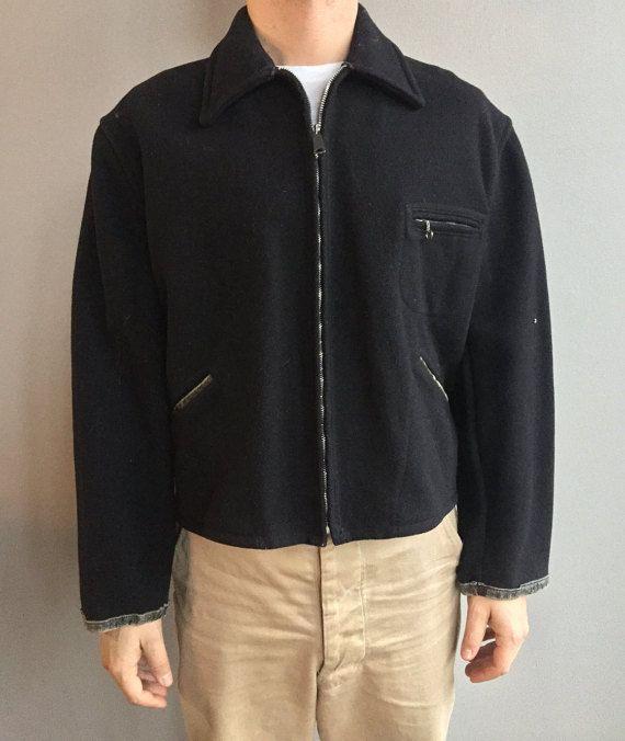 Montgomery Ward Powr House cappotto in lana nera con zip sul davanti