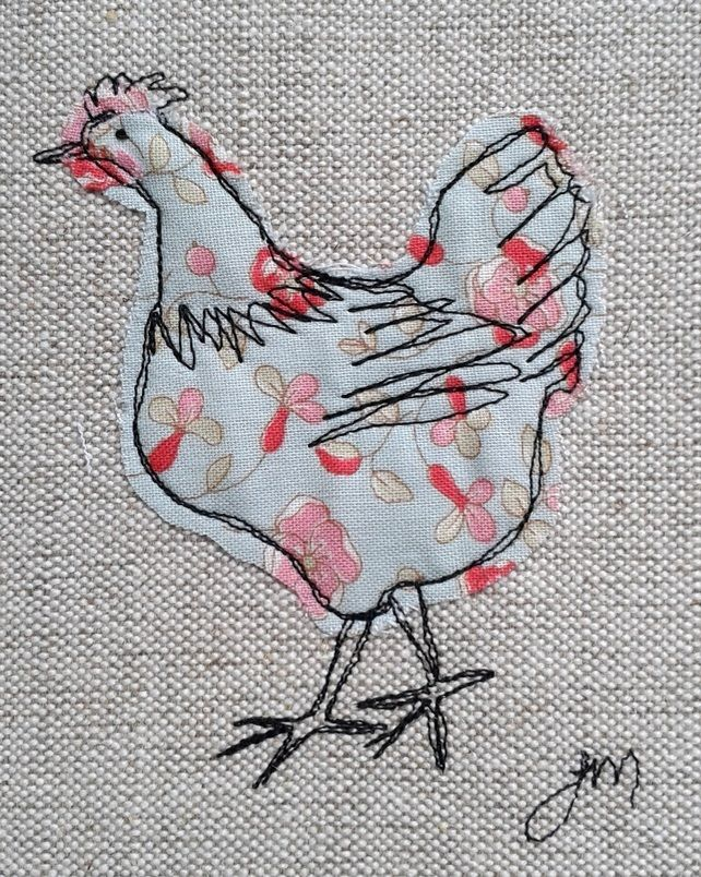 Blue chicken - framed freestyle machine embroidery