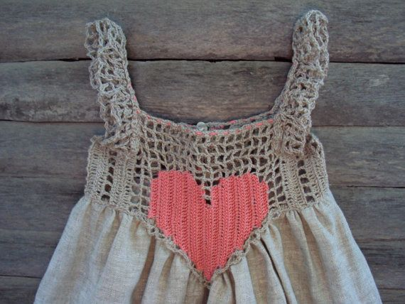 Summer baby dress Organic, Hand Crocheted Baby Love Sundress./crochet baby linen dress/rustic baby sundress
