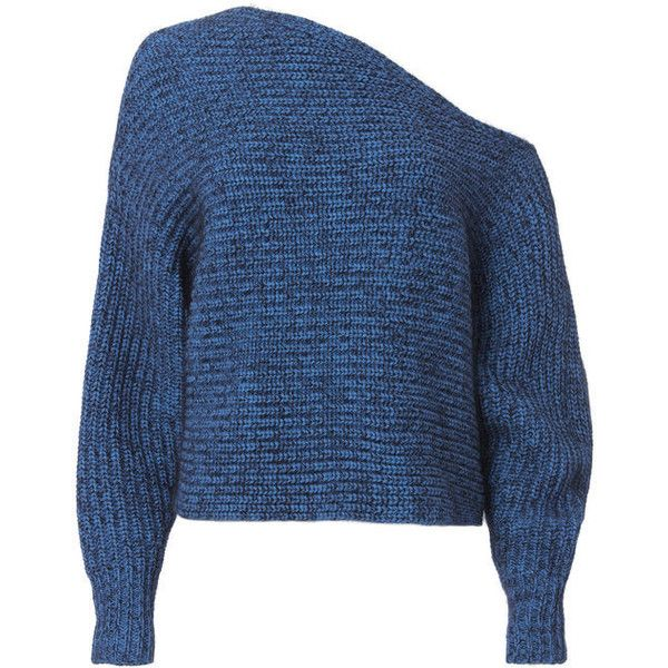 T By Alexander Wang Chunky Mohair Asymmetrical Sweater (£250) ❤ liked on Polyvore featuring tops, sweaters, blue, shirts, asymmetrical sweater, chunky sweater, blue top, t by alexander wang and blue sweater