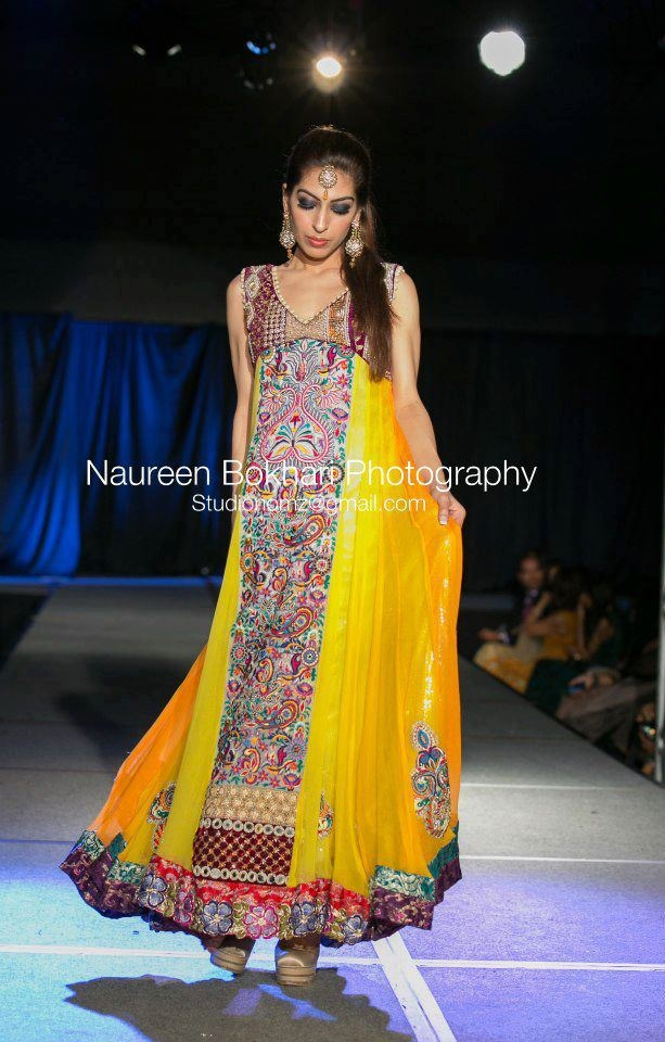 yellow long kames dress - pakistani hand work, runway, mehndi outfit, bridal outfit , beautiful work