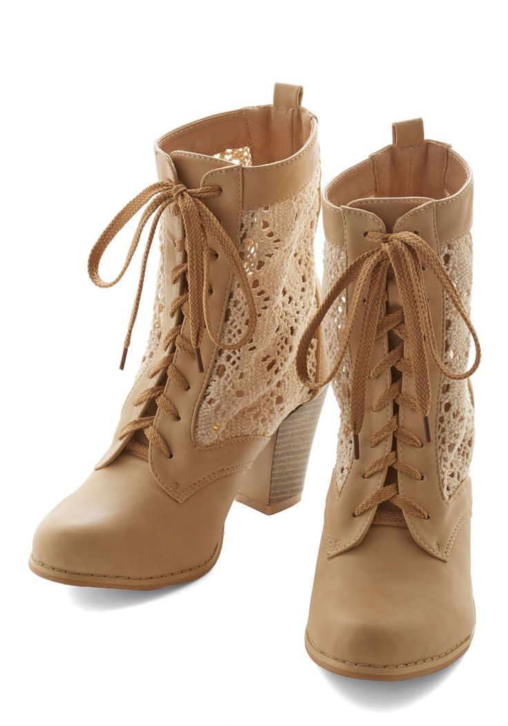 Shake It Up Boot. Reach for the distinct style of these beige lace-up booties and spice up todays ensemble. #tan #modcloth