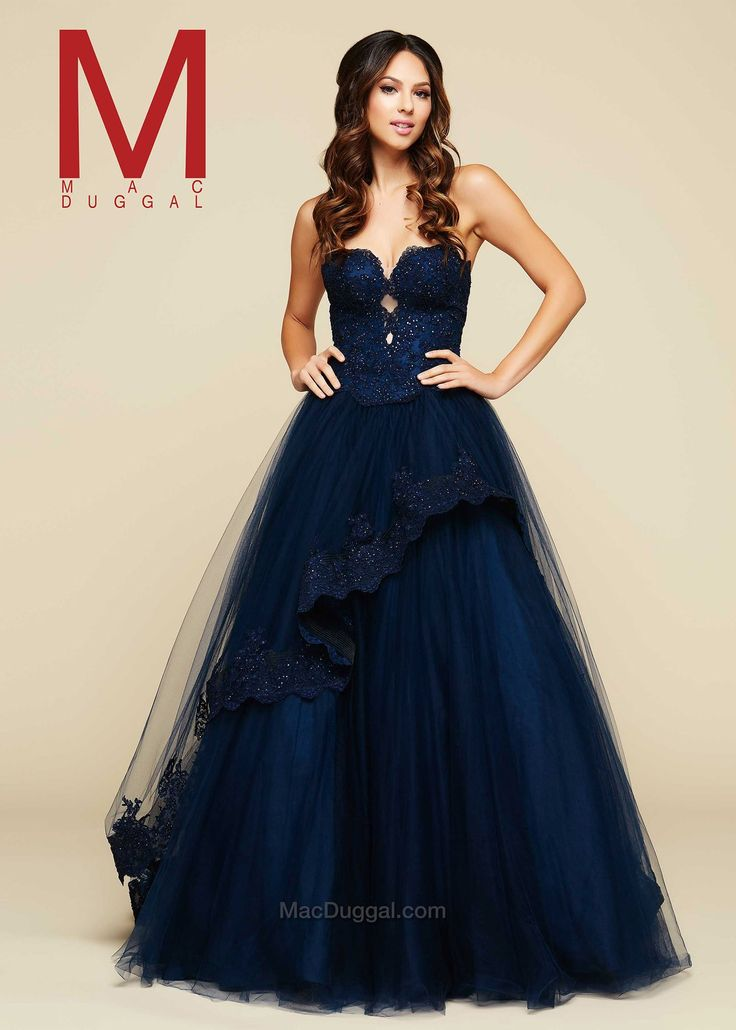 mac duggal 48420h navy sweetheart beaded tulle ball gown