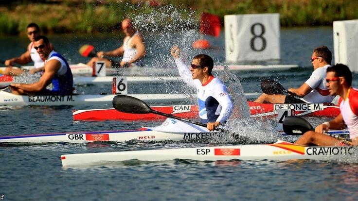 Ed McKeever of TeamGB celebrates his gold in the Mens K1 200m Kayak Sprint