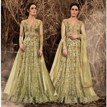 Net Lace Work Green Floral Print Unstitched Long Anarkali Suit - I3041