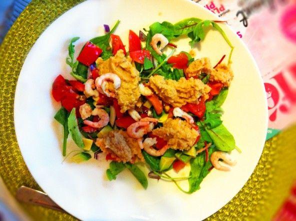 260 kcal – Fräsch 5:2 sallad med Räkor & Hummus