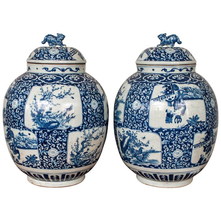 Pair of Large Chinese Blue and White Porcelain Temple Jars | From a unique collection of antique and modern ceramics at http://www.1stdibs.com/furniture/asian-art-furniture/ceramics/