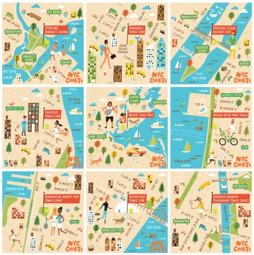 IBM + US Open | a series of illustrated maps depicting some of NYC's best public tennis courts
