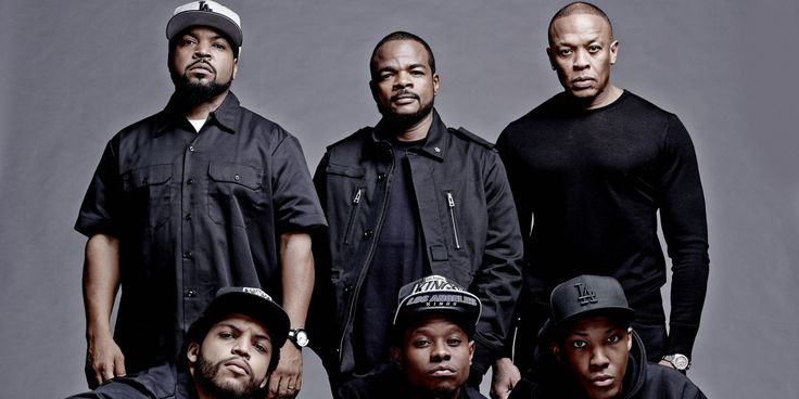 First Photo From 'Straight Outta Compton', the NWA movie. Clockwise: Ice Cube, director F. Gary Gray, Dr. Dre, Corey Hawkins (Dr. Dre), Jason Mitchell (Eazy-E) and O'Shea Jackson Jr. (Ice Cube).