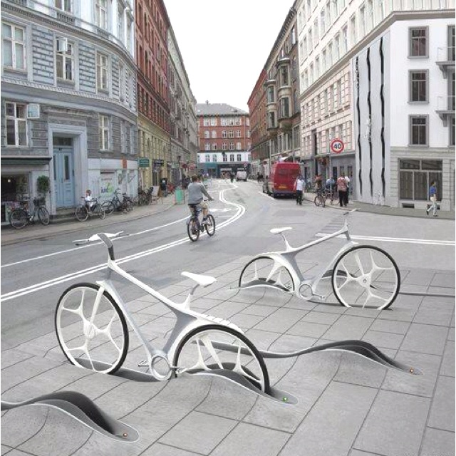 Bike parking in Denmark. Creative and cool!