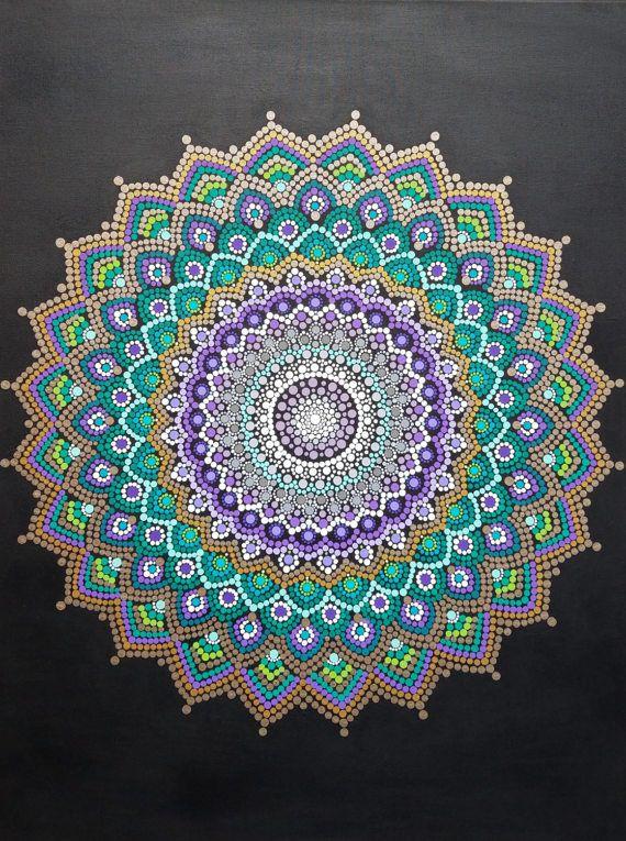 Arte de pared de Mandala mandala pintura/Bohemia/dot trabajo / dotillism / pintura / 30 x 40 / meditación / yoga/espiritual/flor/oro Kaylabreen2017 ©
