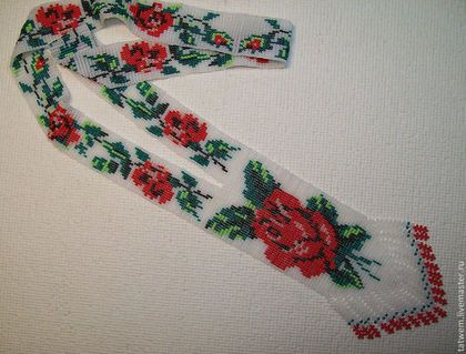 """Колье, бусы ручной работы. Ярмарка Мастеров - ручная работа. Купить Гердан """"Красные розы"""". Handmade. Чешский бисер, украшение"""