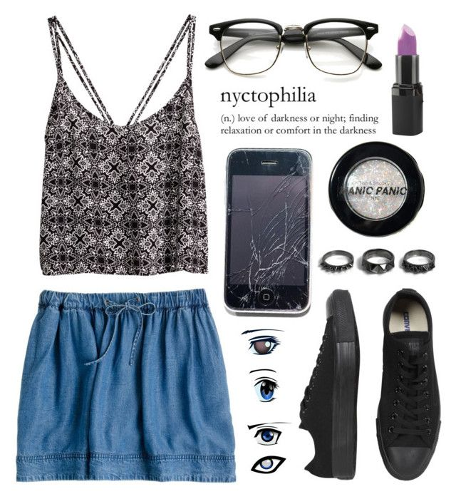 """""""Untitled #299"""" by lily15 ❤ liked on Polyvore featuring H&M, J.Crew, Manic Panic NYC, Converse, Noir Jewelry and Barry M"""