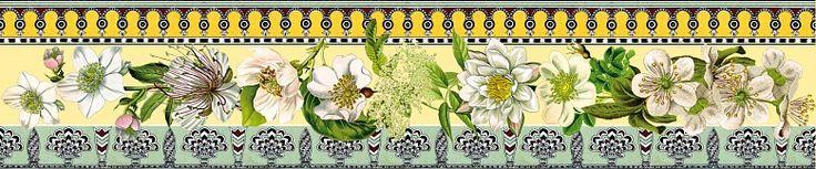 Diese Designerbordüre mit einem weißen Blütenmeer ist Romantik pur. In einem klassischen Stil gehalten verbreitet die Bordüre Nostalgie und eine positive Wohnatmosphäre.