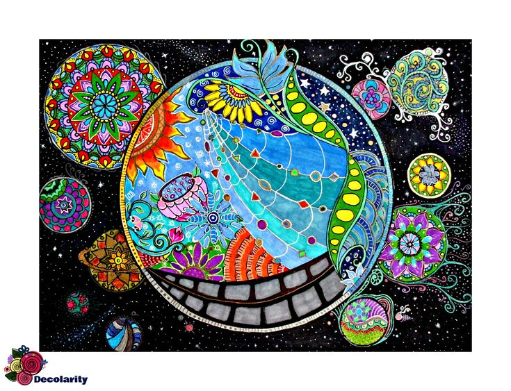 """""""The Other solar system"""" Zentangle draw with sharpie markers and gel pens"""