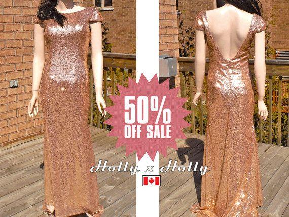 Paillettes oro rosa abiti da Damigella blush oro di HolliexKate