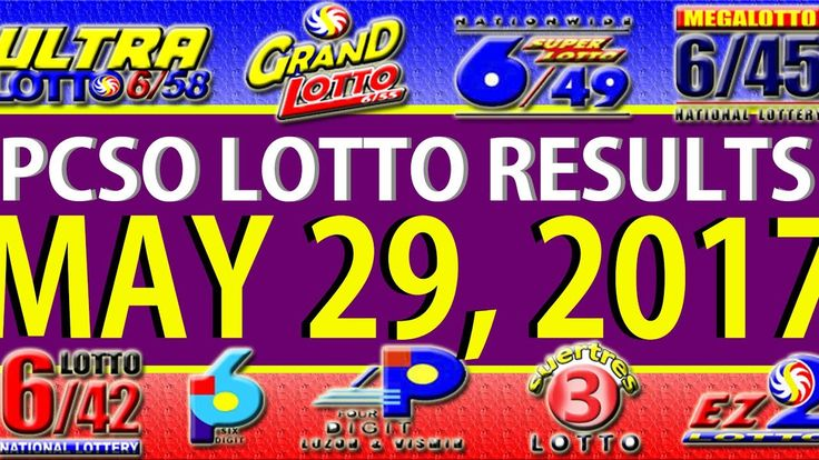 PCSO Lotto Results May 29, 2017 (6/55, 6/45, 4D, SWERTRES & EZ2)