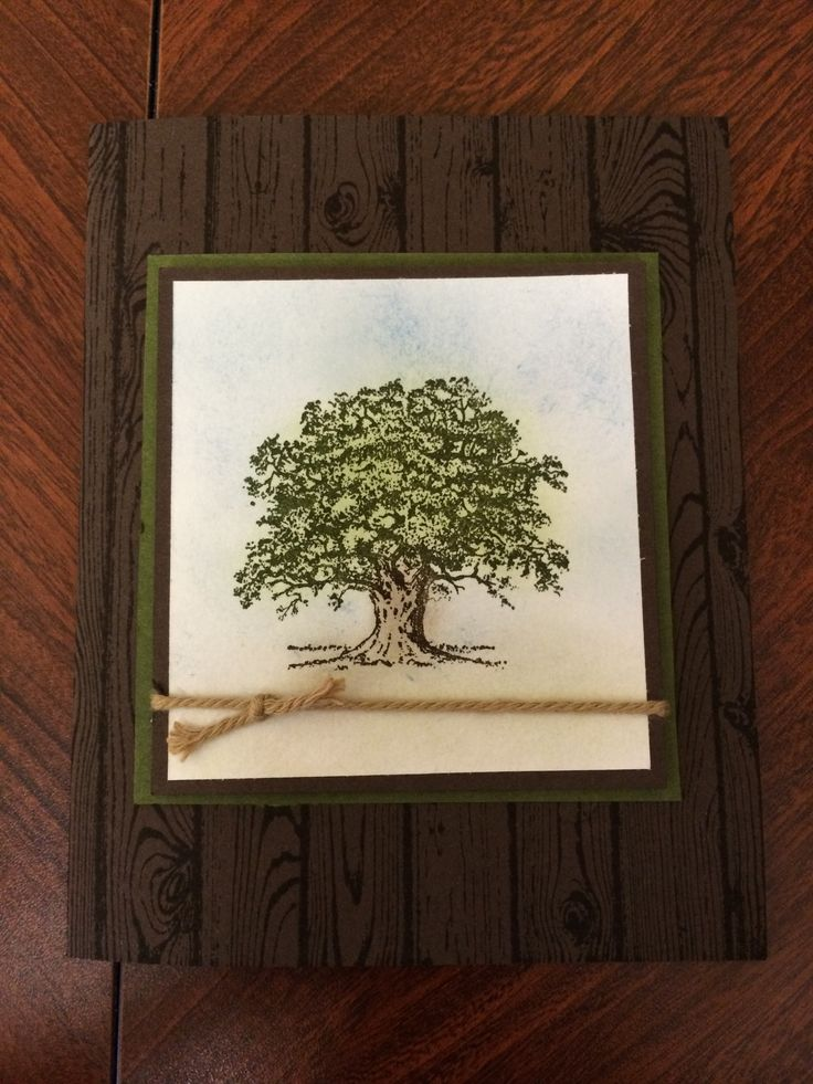 Lovely as a tree with woodgrain background stamp
