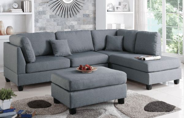 Ashmore Chaise Sofa in Pewter - Chaise Sofas