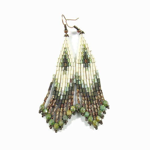 Shade  Dangle ethnic style bugle bead earrings  by Taurielscraft, $21.00,  #beadwork, #earrings, #native
