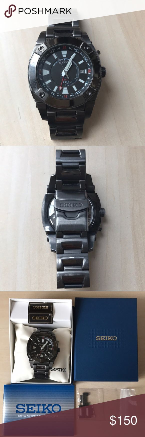 SEIKO Men's SUN007 Kinetic GMT Black Ion Watch Gently used, Kinetic movement, function without battery, powers with the movement of your arm, Strong Hardlex crystal protects dial from scratches, Case diameter 45.5mm, Stainless steel case, Black dial with date function, Water resistance to 300 feet (100 M), Screwdown see thru caseback, Original box and spare bracelet chains included. Seiko Accessories Watches