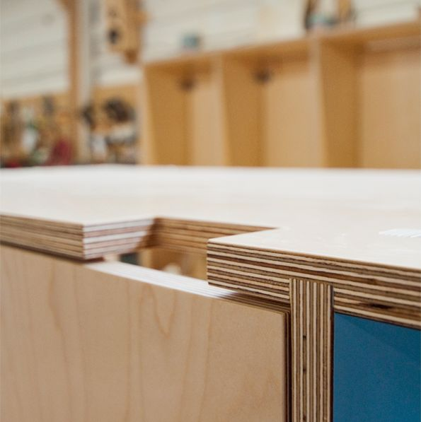 Kerf Design. We think plywood and plastic laminate are beautiful. They're strong, humble, and practical materials. We always leave the edges exposed to admire the plywood core.