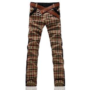 2012 new free shipping Mens / men plaid pants / Jeans / Pants Khaki yellow X8810P70