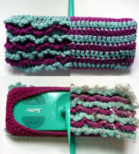 Anybody have a Swiffer?    This is a clever reversible Swiffer sock. One side is flat, the other loopy, so you can use it wet or dry.