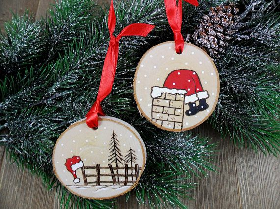 Santa Wood Burned Birch Slice Christmas Ornament Hand Burned