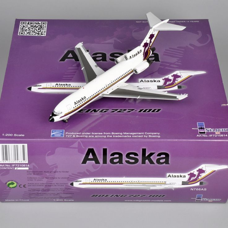 Inflight1:200 Scale Diecast Alloy Airplane Alaska N766AS Boeing 727-100 Airplane Model Toys Aircraft Hobbies Collections Gifts E