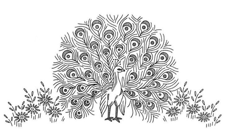 patrones de bordado en cinta - pavo real | bordadoencinta | Pinterest