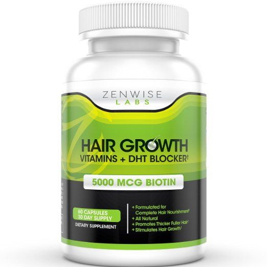 Hair Growth Vitamins Supplement - 5000mcg of Biotin & DHT Blocker for Hair Loss and Baldness - Contains Vitamins That Stimulate Hair Growth & Shine for Men and Women - 60 Vegetarian Friendly Pills