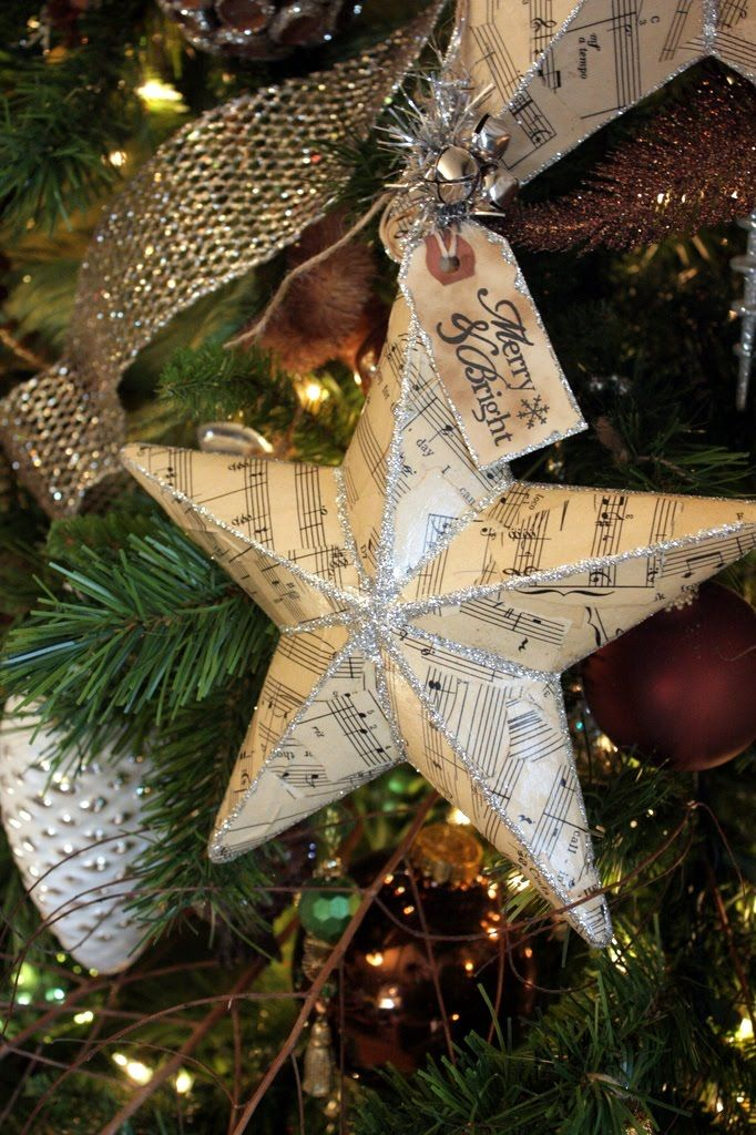 lhandcrafted Christmas ornament from Sweet Something Designs: Sheet Music Star (Tutorial) ... old sheet music ... paper mache star base ... Mod Podge and glitter ... delightful look for a Vinatage themed tree ...