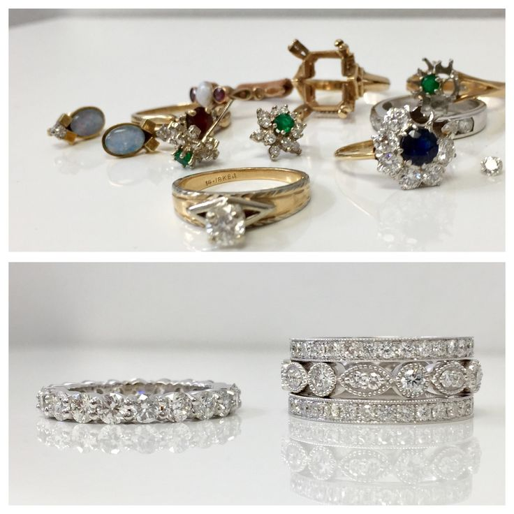 """All of the above """"before"""" cherished heirloom jewellery made room for two beautiful """"after"""" diamond bands. And then a few others bands were added to the mix as well! One happy girl with this redesign. Don't leave special heirloom pieces in a Jewellery box. Let's make them into something current you can wear today!"""