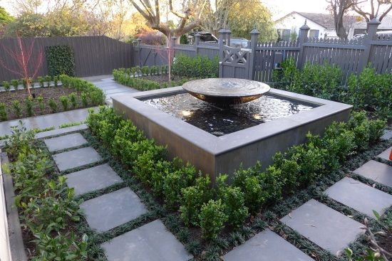 Raised feature - pond and fountain  (Or could have similar fountain with lower down catchment pond - safer) Finished Projects - Water Features Direct