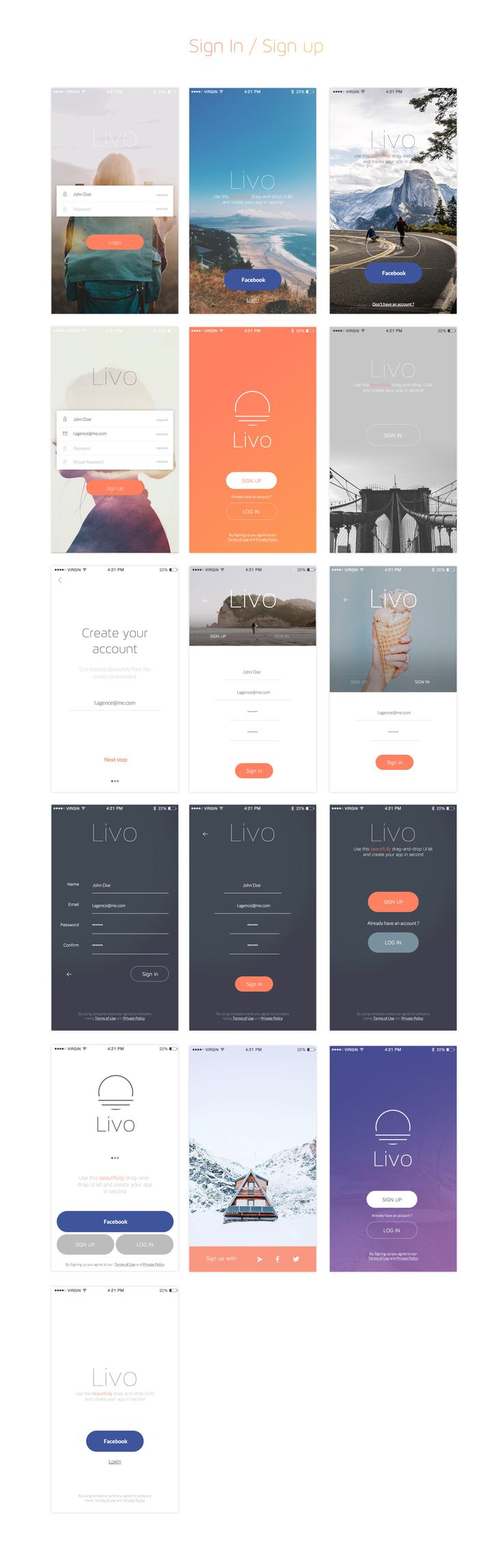 Livo UI Kit for Sketch & Photoshop is a modern, stylish, and intuitive kit for creating your app! This UI Kit contains more than 210 elaborate mobile screens in 8 categories. Each screen is fully customizable, & exceptionally easy to use!