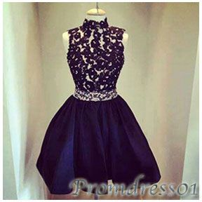 #promdress01 prom dresses, cute deep blue lace chiffon high neck sleeveless short prom dress for teens, bridesmaid dress, occasion dress #prom2k15 #promdress -> www.promdress01.c... #coniefox #2016prom