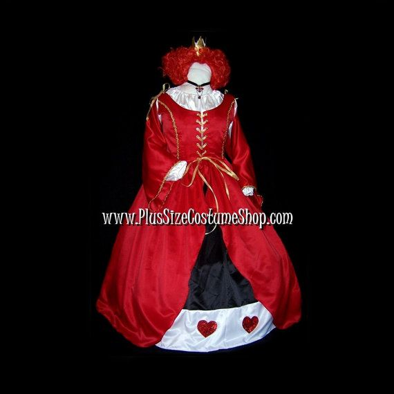 queen of hearts court gown plus size halloween costume adult womens 1x 2x 3x 4x 5x