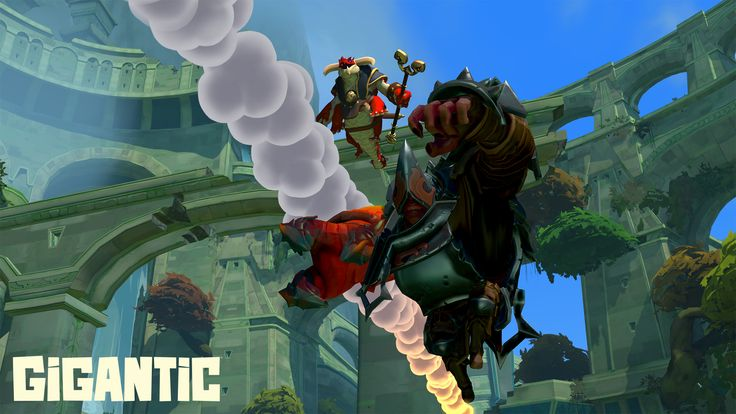 The Margrave and Charnok evade incoming fire as they charge into battle in Gigantic.