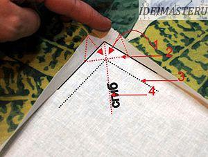 -мысленно продумаем, основные этапы изготовления угла «Конвертика» 1 - так складываем края подгибки, 2 - по этой линии пройдет строчка 3 - внешний край салфетки 4 - линия сгиба при обработке угла  -Складываем припуски на швы в области уголка  -Складываем уголок пополам по линии сгиба на лицевую сторону. фото