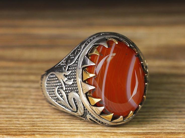 925 K Sterling Silver Man Ring Red Agate 10,5 US Size B22-65390