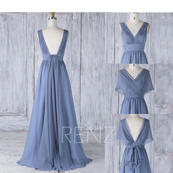 Bridesmaid Dress Steel Blue Chiffon Wedding Dress Convertible Top Maxi Dress Ruched V Neck Wrap Dress Backless Infinity Evening Dress(H507)
