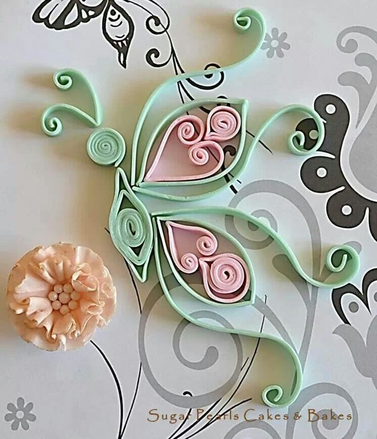 Quilled fondant butterfly with ruffle rose