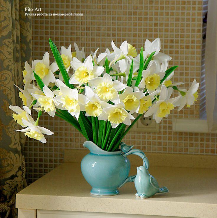 Купить В НАЛИЧИИ-Нарциссы ручной работы из холодного фарфора. - лимонный, желтый, нарциссы