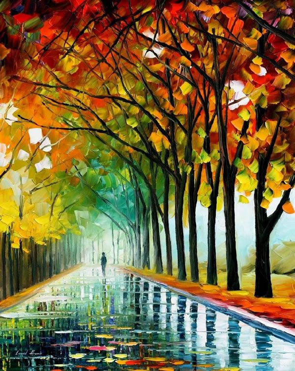 If I were to be painted, I'd wish to be the shadow at the end of this dreamy tree lane ...     (Painting by Leonid Afremov, a graduate of the Vitebsk school founded by Chagall and Kandinsky.)