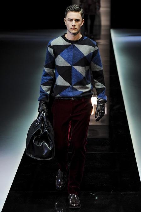 Geometric print knit and velvet trouser via @Armani - Fall 2013
