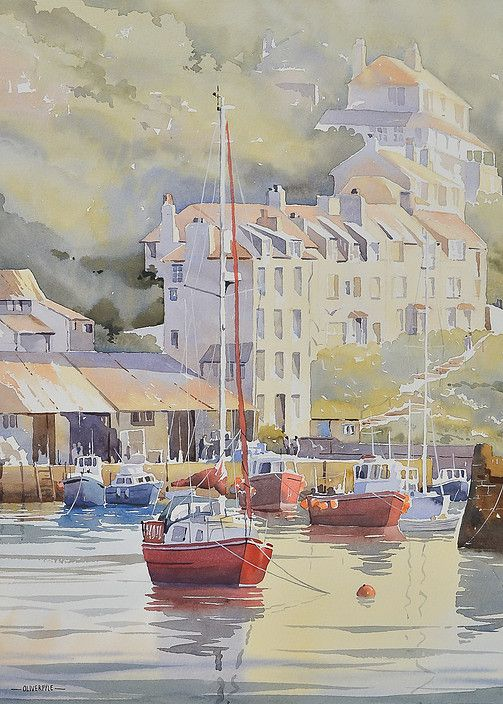 "Oliver Pyle ~ ""High Tide, Polperro"" ~ Watercolor 45 x 33 cm"