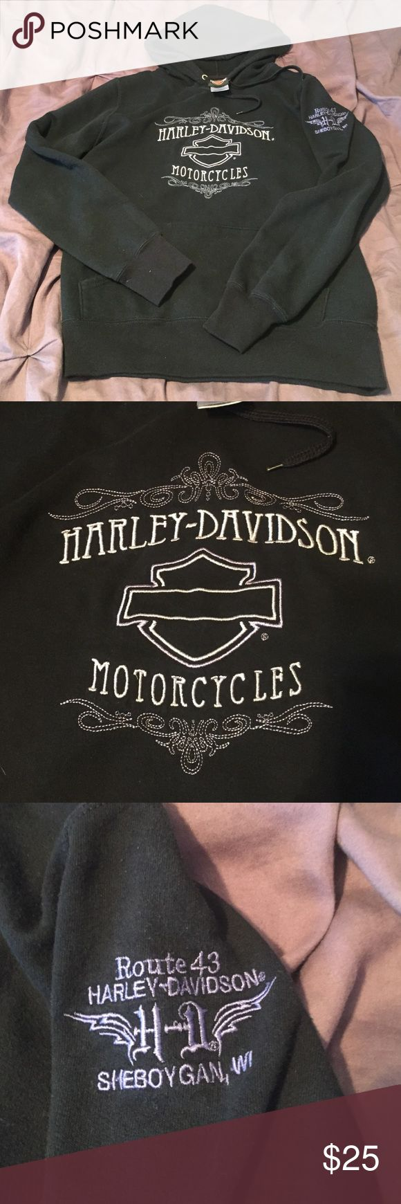 Purple Detail Harley Davidson Sweatshirt Perfect condition beautiful Harley Sweatshirt. I've never seen another woman with this Sweatshirt. Back is plain. Love this but is not too small for me. Offers welcome! Harley-Davidson Tops Sweatshirts & Hoodies
